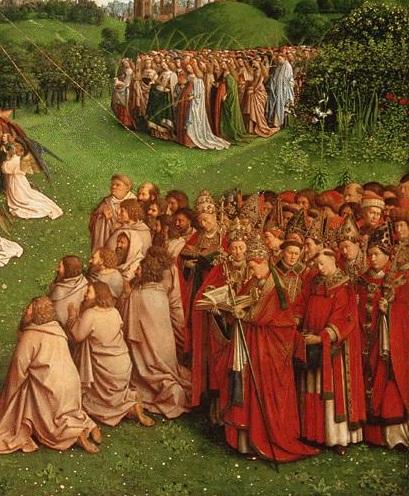 得勝的教會 -- Ghent Altarpiece: Adoration of the Lamb (detailed) by van Eyck
