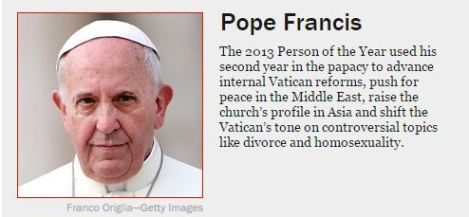TIMES 年度人物網上投票有關教宗方濟各的簡介