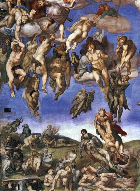 被提升天的靈魂  Last Judgement, Sistine Chapel (detailed) by Michelangelo