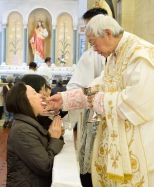陳樞機送聖體,教友則跪著口領聖體。