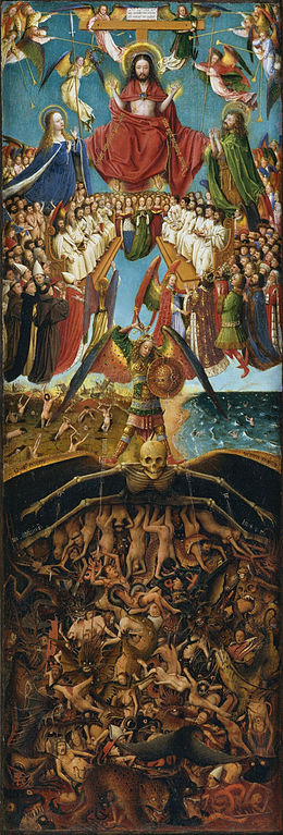The Curcifixion; The Last Judgment (right panel of diptych) by Jan van Eyck