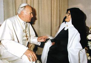 路濟亞修女跟教宗若望保祿二世於1982年會面