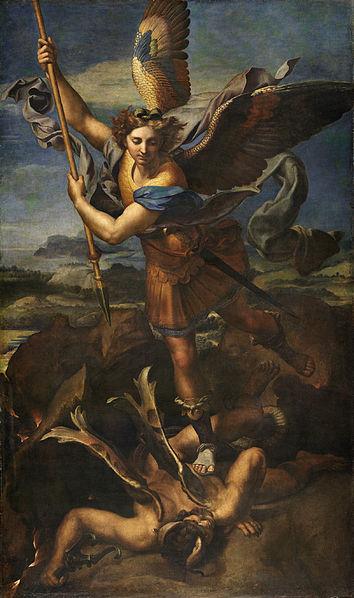 Saint Michael Vanquishing Satan (Raphael, 1518. Wikimedia)