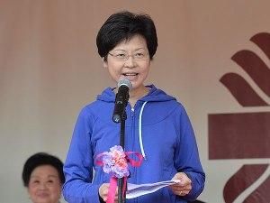林鄭月娥於2015年11月1日出席明愛賣物會致辭 (政府新聞網)